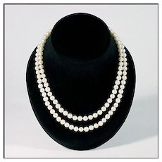 Double Strand Japanese Akoya Pearl Necklace - 14K Yellow Gold Clasp - Fine Cultured Sea Pearls