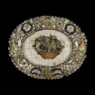 Antique Folk Art Shell Frame and Seaweed Basket Shadowbox - Early 19th C - Sailor's Valentine - Folk Art