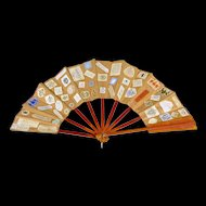 Antique Folk Art Scrapbook Fan from Vassar College - 19th C - Circa 1890 - Folk Art