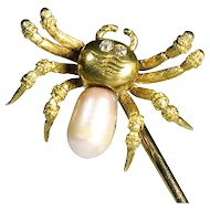 Signed Tiffany 18K Gold Spider Stick Pin with Pearl Body and Diamond Eyes - Men's or Women's Jewelry - Unisex