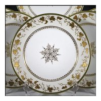 Six Latrille Freres Limoges Plates with Raised Gold Enameled Decoration