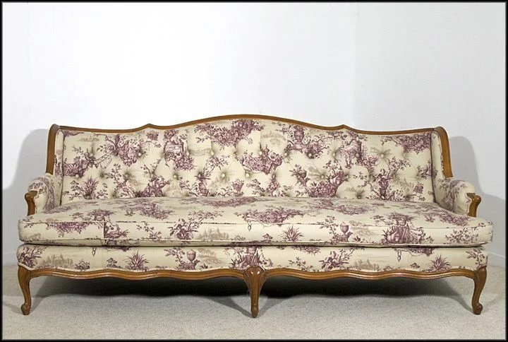 Fabulous French Provincial Style Tufted Sofa - Newly Upholstered : Oh Art  US59