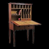 Early 19th C Grain Painted Step Back Drop Front Desk or Secretary in Original Surface - From a Stone Ridge, NY Farm