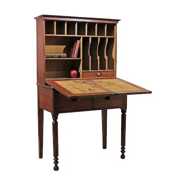 Early 19th C Grain Painted Primitive Step Back Drop Front Desk or Secretary in Original Surface - From a Stone Ridge, NY Farm