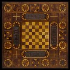 American Folk Art Gaming Table - Inlaid and Carved - Americana- Naive - Primitives