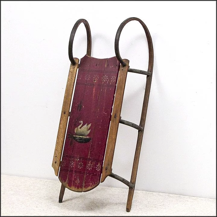 Antique Paris Cutter Sled From Maine In Original Red Paint With Swan Sleigh Folk Art Primitives