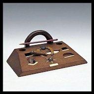 Folk Art Masonic Desk Set - Carved and Inlaid Wood