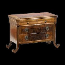 Antique Miniature Burl Veneer Chest for Jewels or Dolls