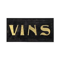 Art Nouveau Wine / Vins Advertising Sign - Antique Gold Leaf and Sand on Wood - Folk Art