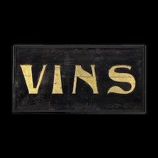 Art Nouveau Wine / Vins Advertising Sign - Antique Gold Leaf and Sand on Wood - Folk Art