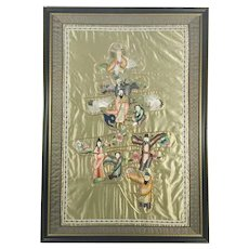 Chinese Framed Silk Embroidered Panel Immortals  Shoulao