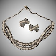 HOBE ~Rhinestone & Milk Glass Necklace with Matching Earrings.