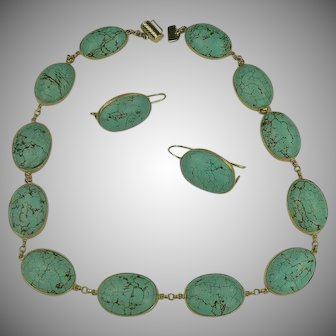 1960's 14k Gold Turquoise Necklace & Earrings Set.