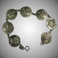 Large Sterling Sand Dollar Link Bracelet.