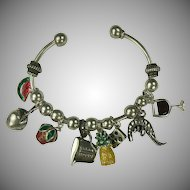 Cooking Themed Sterling Charm Bracelet.