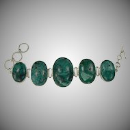 Chunky Turquoise & Sterling Link Bracelet.