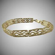 "Elegant Diamond Cut 10k Yellow Gold Bracelet, 7 1/2"" Long-5.2 Grams."