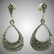 Marcasite & Sterling Drop Earrings~Pierced.
