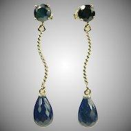 Sapphire Drop Earrings~14k.