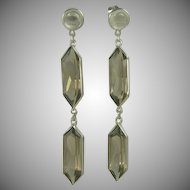 Smokey Quartz and Sterling Drop Earrings.