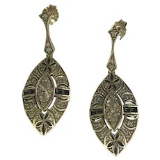 Onyx and White Topaz Art Deco Styled Sterling Earrings.