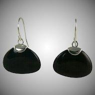Fantastic Onyx Earrings Styled in  Sterling Silver, Pierced.