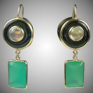 Onyx, Moonstone, Green Agate 14k Gold Drop Earrings-Mid-Century.