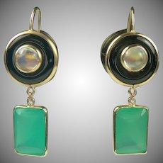Onyx, Moonstone, Green Agate 14k Gold Drop Earrings-Mid-Century.