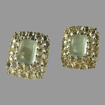 Moonstone & Aquamarine 14k Gold Earrings.