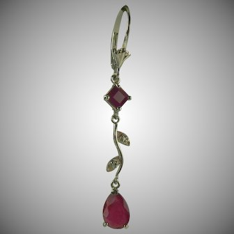 Ruby and Diamond Earrings~14k White Gold.