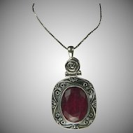 Elegant Ruby & Sterling Pendant Necklace.