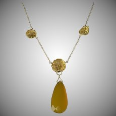 Unique Carved Citrine Floral Necklace - 14k.