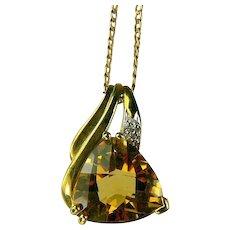 Citrine & Diamond Pendant Necklace-10k Gold.