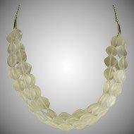 Triple Strand Matte Crystal Necklace - Sterling.