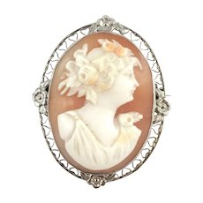 14k White Gold Carved Carnelian/Shell Cameo Brooch.
