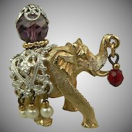 Dimensional Elephant Brooch~Designed by Napier.