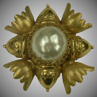 Large Miriam Haskell Faux Pearl Brooch