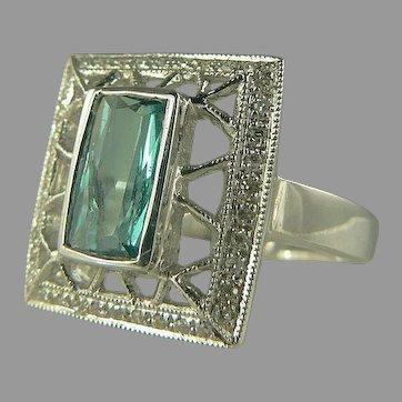 Blue-Green Tourmaline & Diamond Ring - 14k - Size 8.