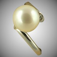 Freshwater Cultured Pearl Ring~14k White Gold~Size 8.