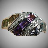Amethyst, Citrine, Peridot, Iolite & Diamond Ring, 14k,Size 6 1/2.