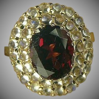 Garnet & Blue Moonstone Ring-14k-Size 6 3/4.