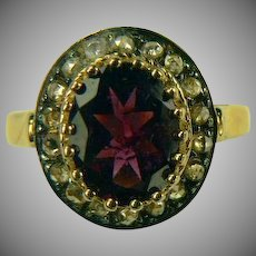 Mid-Century Mine Cut Diamond and 14k Gold Garnet Ring-Size 7.