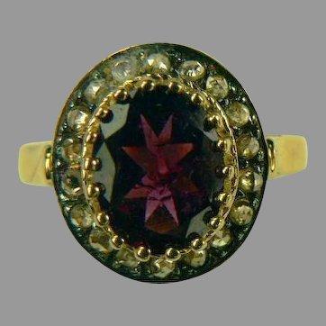 Mid-Century Mine Cut Diamond and 14k Gold Garnet Ring-Size 7.