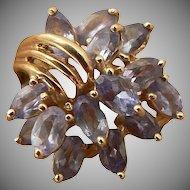 Natural Tanzanite Ring -10k Yellow Gold-Size 7.