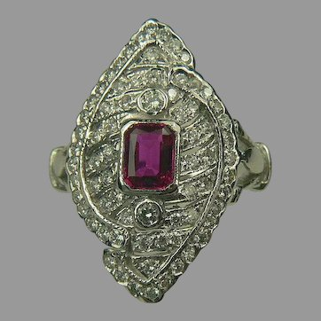 18k Art Deco Ruby and Diamond Ring~Size 6.