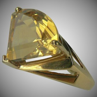 7 CWT Triangle Cut Citrine Ring-14k-Size 8.