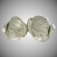 Schiaparelli~Vintage Silver Tone Leaf Clamper Bracelet.