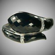 Hand Crafted Sterling Snake Bracelet-Spinel & White Topaz.