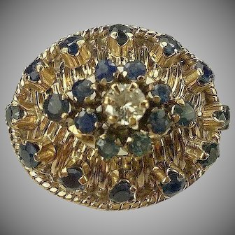C. 1940s Blue Sapphire and Diamond Ring-14k-Size 6.