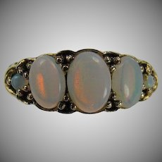 Blue Fire Opal Band Ring-Size 7 3/4-14k.